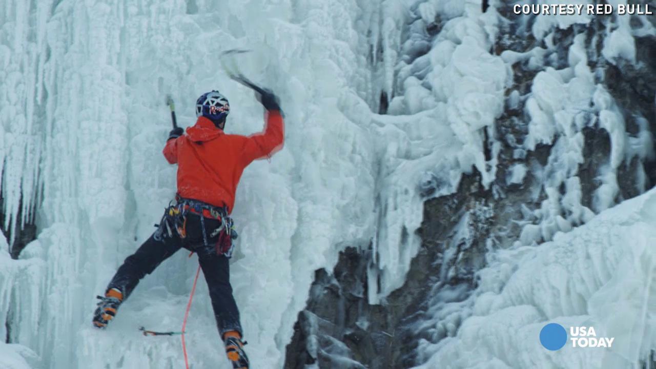 This guy climbed an ice-covered Niagara Falls