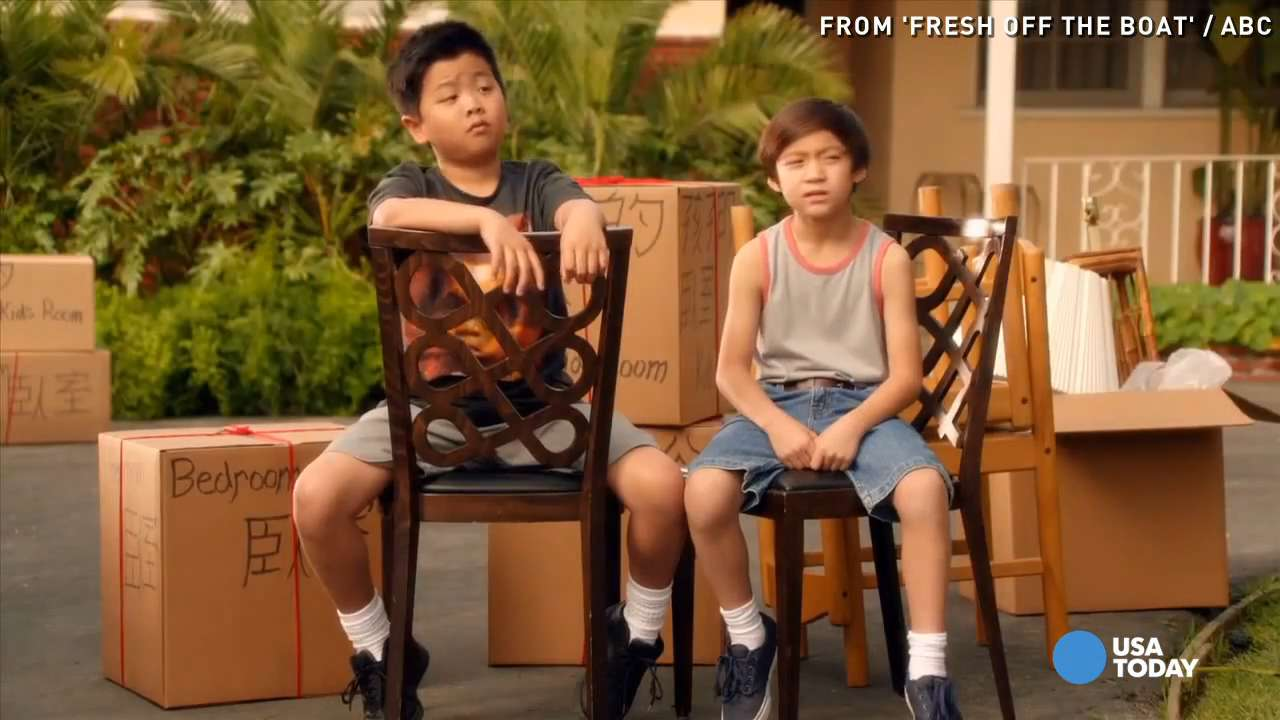 "From left, Hudson Yang as Eddie Huang, Ian Chen as Evan Huang, Constance Wu as Jessica Huang, Randall Park as Louis Huang and Forrest Wheeler as Emery Huang in ""Fresh Off the Boat."""