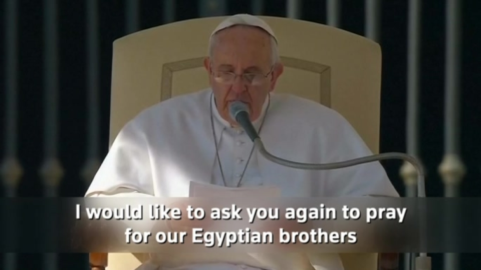 Pope asks pilgrims to pray for Egyptian christians beheaded in Libya