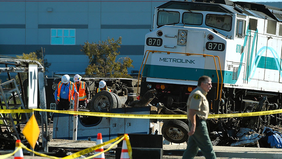 This morning a Metrolink commuter train collided with a truck causing    Train Crash Truck