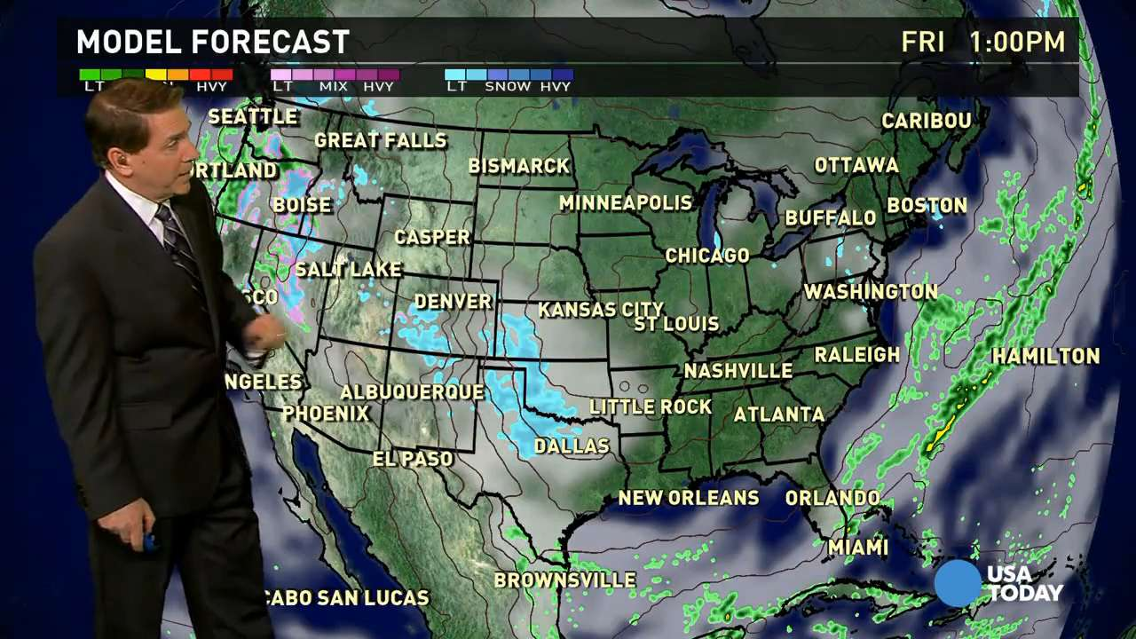 Friday's forecast: Fresh arctic air in eastern U.S.