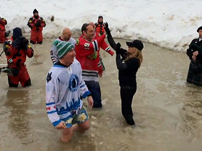 Watch Vince Vaughn plunge into icy water