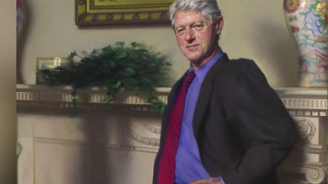 Do you see the Lewinsky reference in Bill Clinton's portrait?