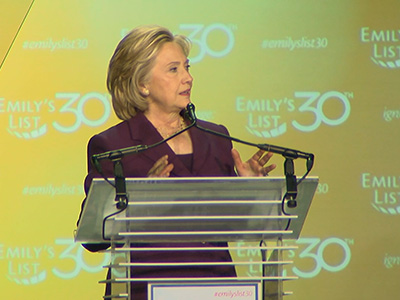 Hillary Clinton addresses the 30th Anniversary National Conference of EMILY's List Tuesday night in Washington.