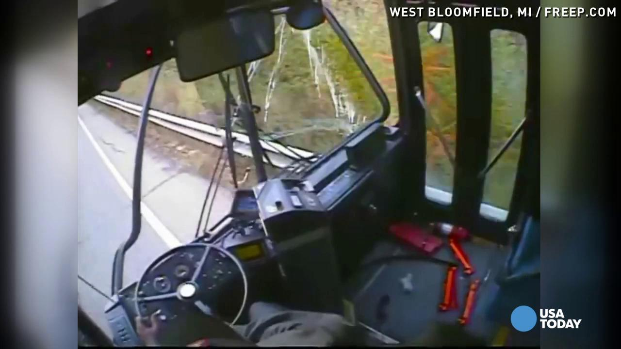 A Detroit bus driver allegedly dozed off and awoke just before crashing into a row of vehicles. The accident investigation stretched approximately one-half mile long.