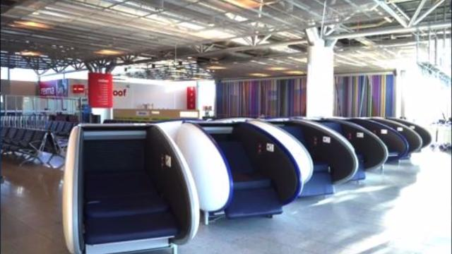 Layovers at a European airport just got a whole lot better with sleeping pods, but they'll cost you! Sean Dowling (@seandowlingtv) has more details.