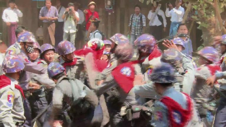 Myanmar police beat students in protest crackdown