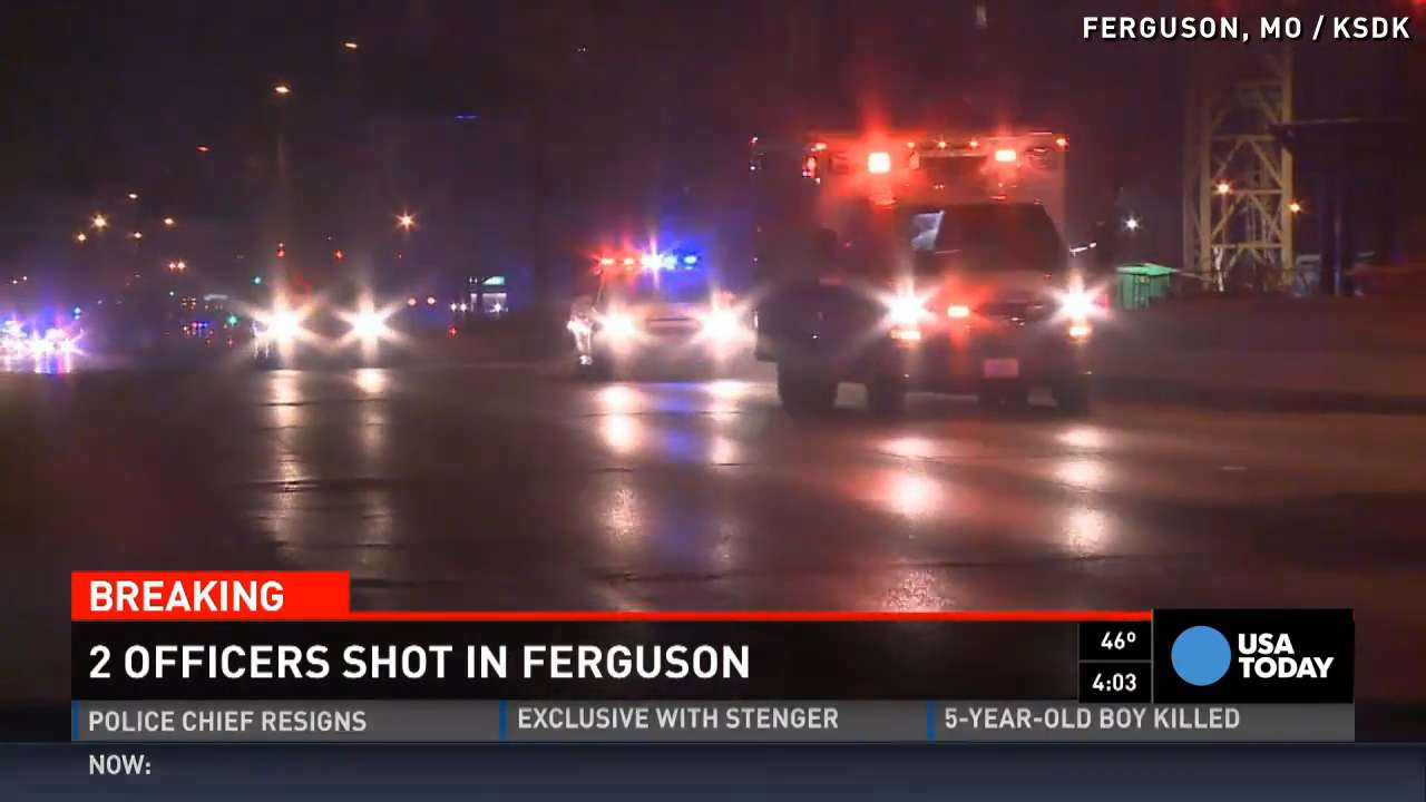 2 police officers shot during protests in Ferguson