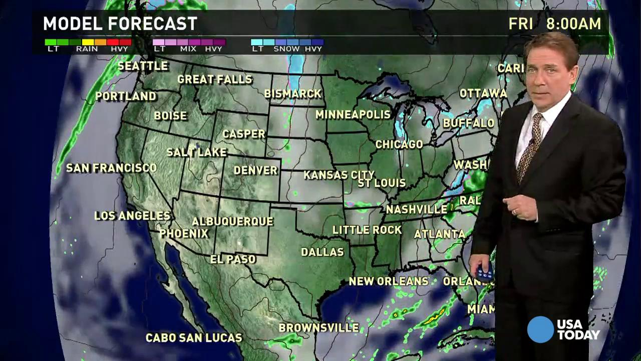 Thursday's forecast: T-storms move East
