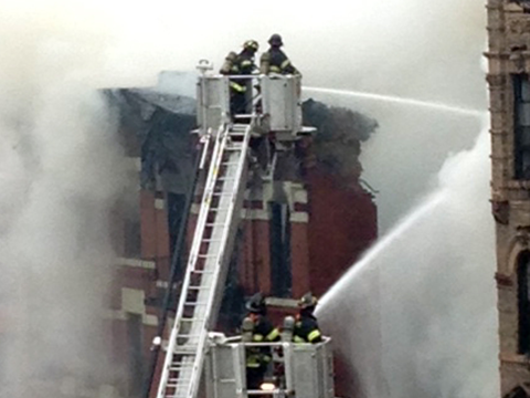 Smoke billows into the air in a New York City fire.
