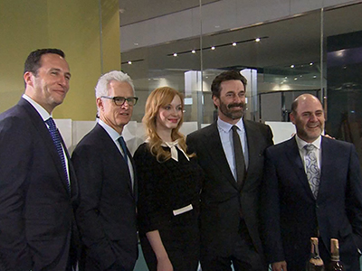 John Slattery, Christina Hendricks, and Jon Hamm at the donation of 'Mad Men' items to the Smithsonian National Museum of American History on March 27, in Washington, DC.