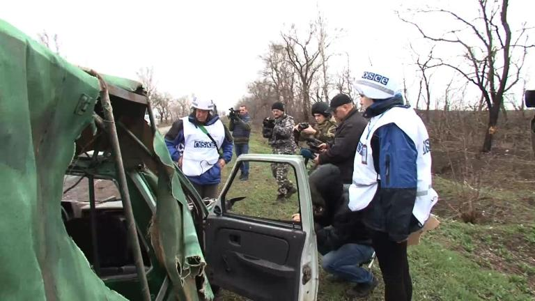 OSCE inspect missile aftermath in eastern Ukraine