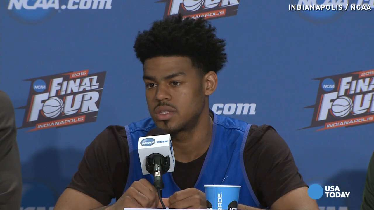 In a press conference, players for Duke University and Michigan State University say they are thankful to have gotten this far in the tournament.