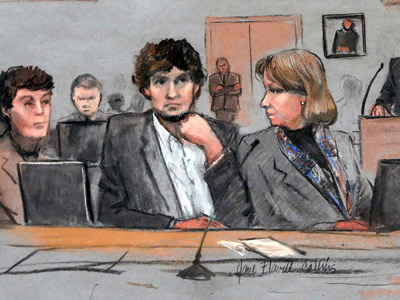 Dzhokhar Tsarnaev was convicted April 8, 2015, in federal court in Boston on multiple charges in the 2013 Boston Marathon bombings.