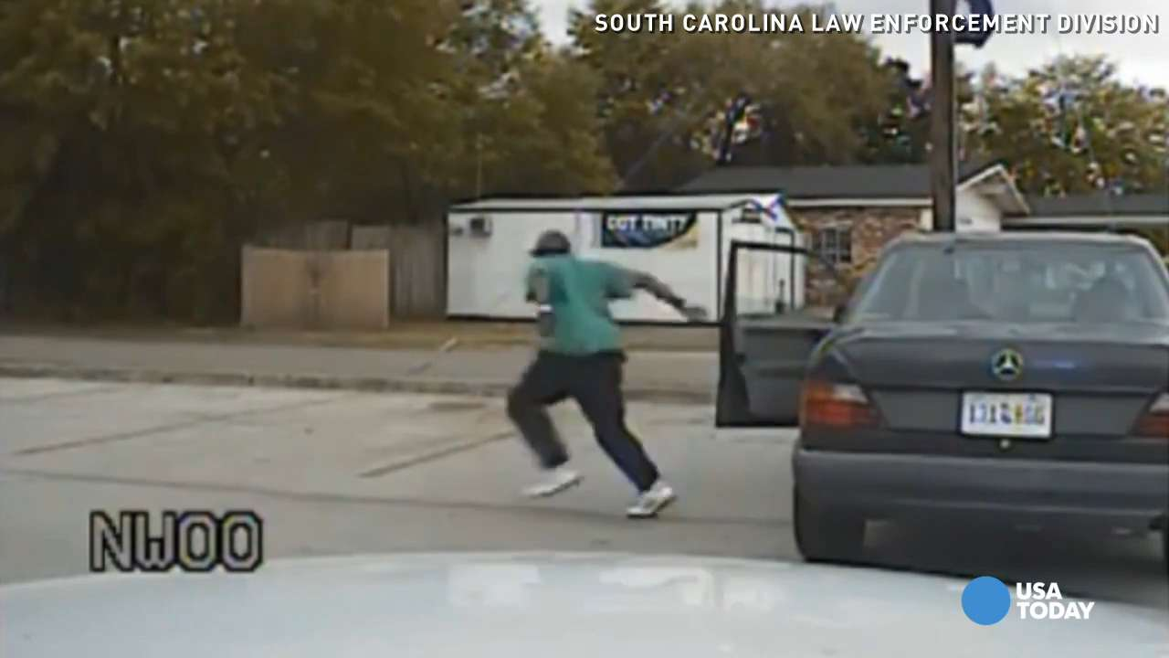 Walter Scott runs from a traffic stop in a dash camera