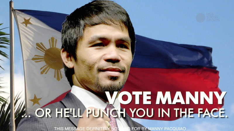Pacquiao's promoter Bob Arum says the boxer may run for president of the Philippines, so we made him a campaign ad.