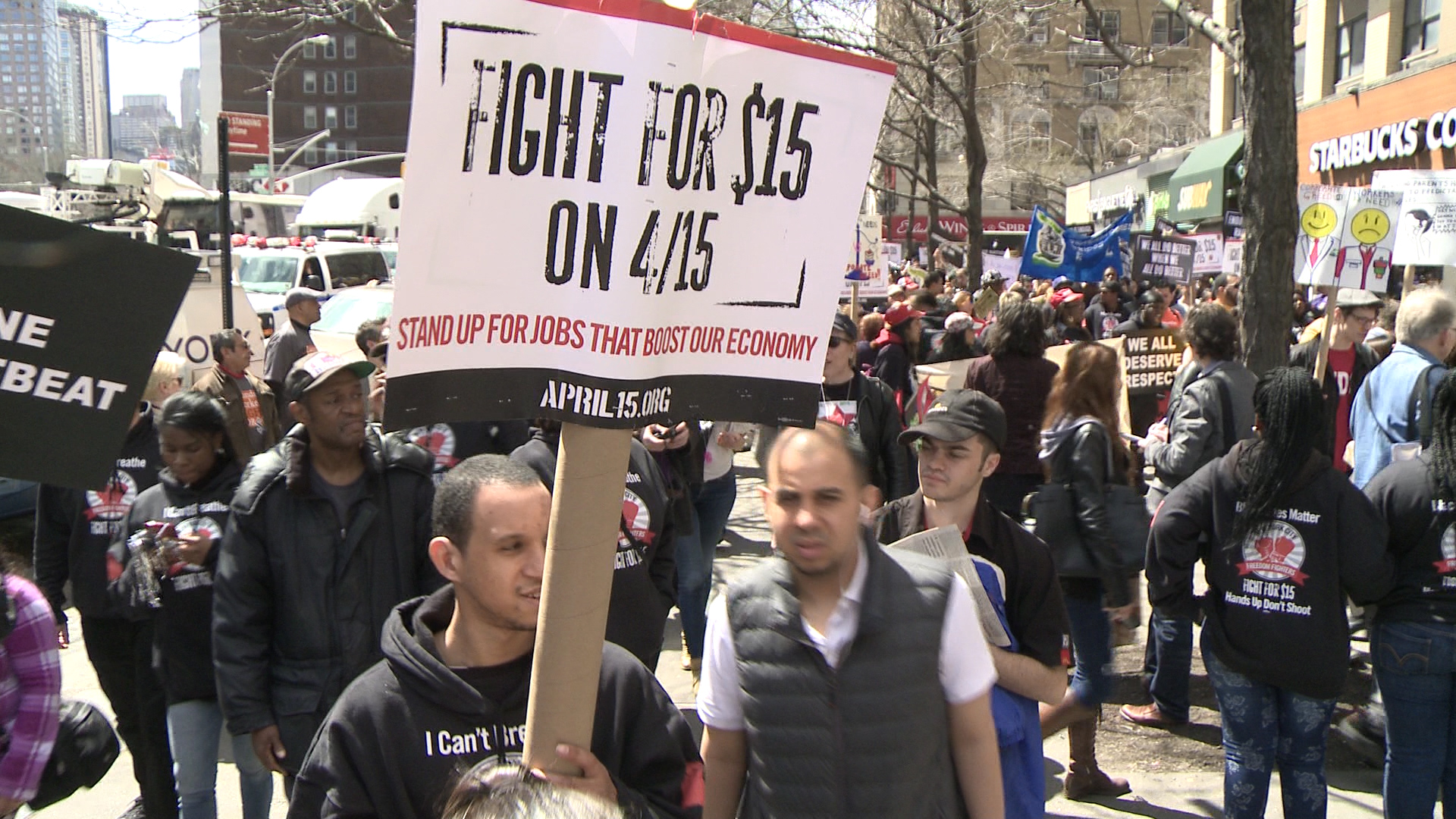 Tax Day protesters rally for minimum wage increase
