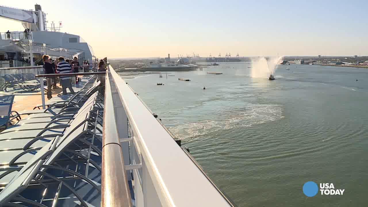 USA TODAY Travel takes you onto Royal Caribbean's newest Quantum class ship, Anthem of the Seas. Watch the ship pull away from port in this time-lapse video.