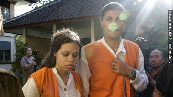 Heather Mackarrives at a court in Denpasar on Bali island on April 14.