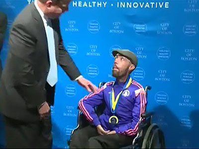 Boston Marathon's final finisher presented medal