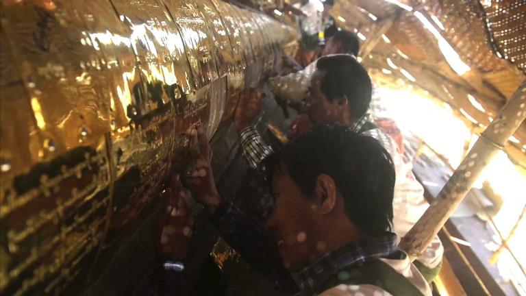 Glittering year for Myanmar's golden pagoda