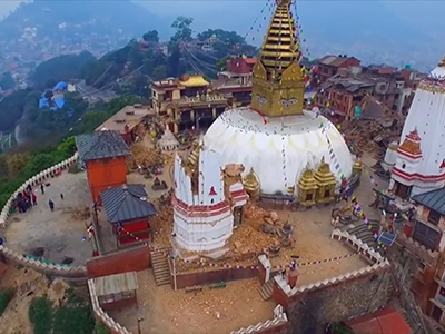 Raw: Drone view of Nepal quake damage