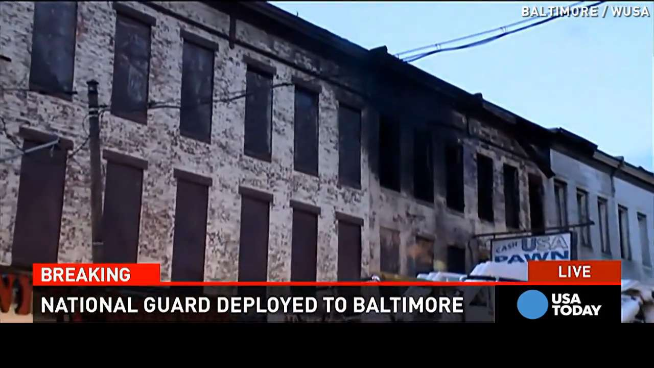 Damage in Baltimore as rioters set fires, loot stores