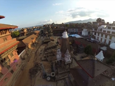 Raw: Drone footage of aftermath of earthquake
