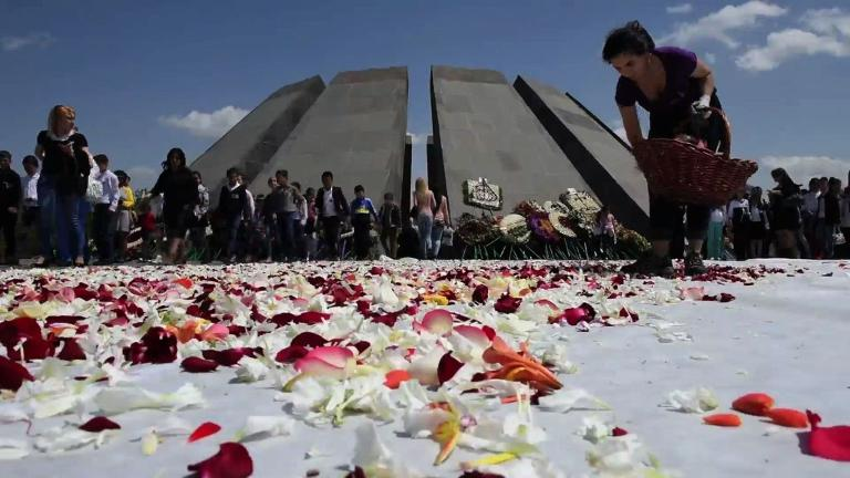 Second-life for flowers laid at Armenian genocide memorial