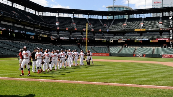 Sights and sounds from the Orioles' historically empty game