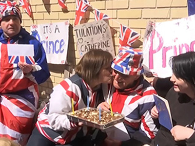 Raw: Man celebrates 80th waiting for royal baby