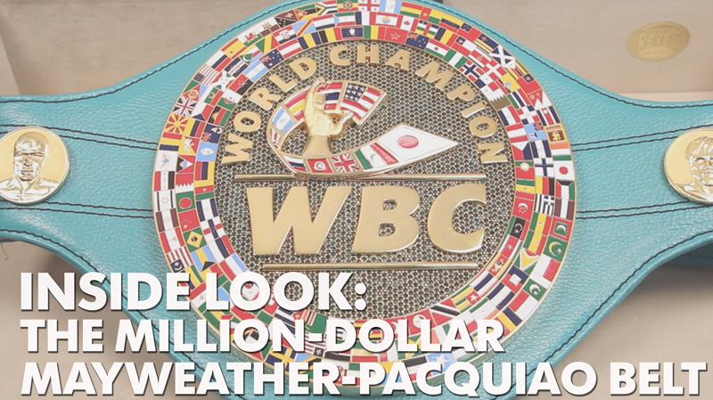 The WBC belt that Floyd Mayweather and Manny Pacquiao will battle for features, among other things, 3,017 emeralds.