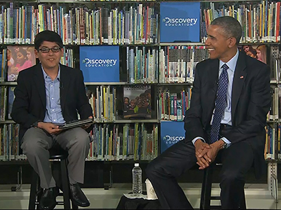 Kid moderator interrupts Obama