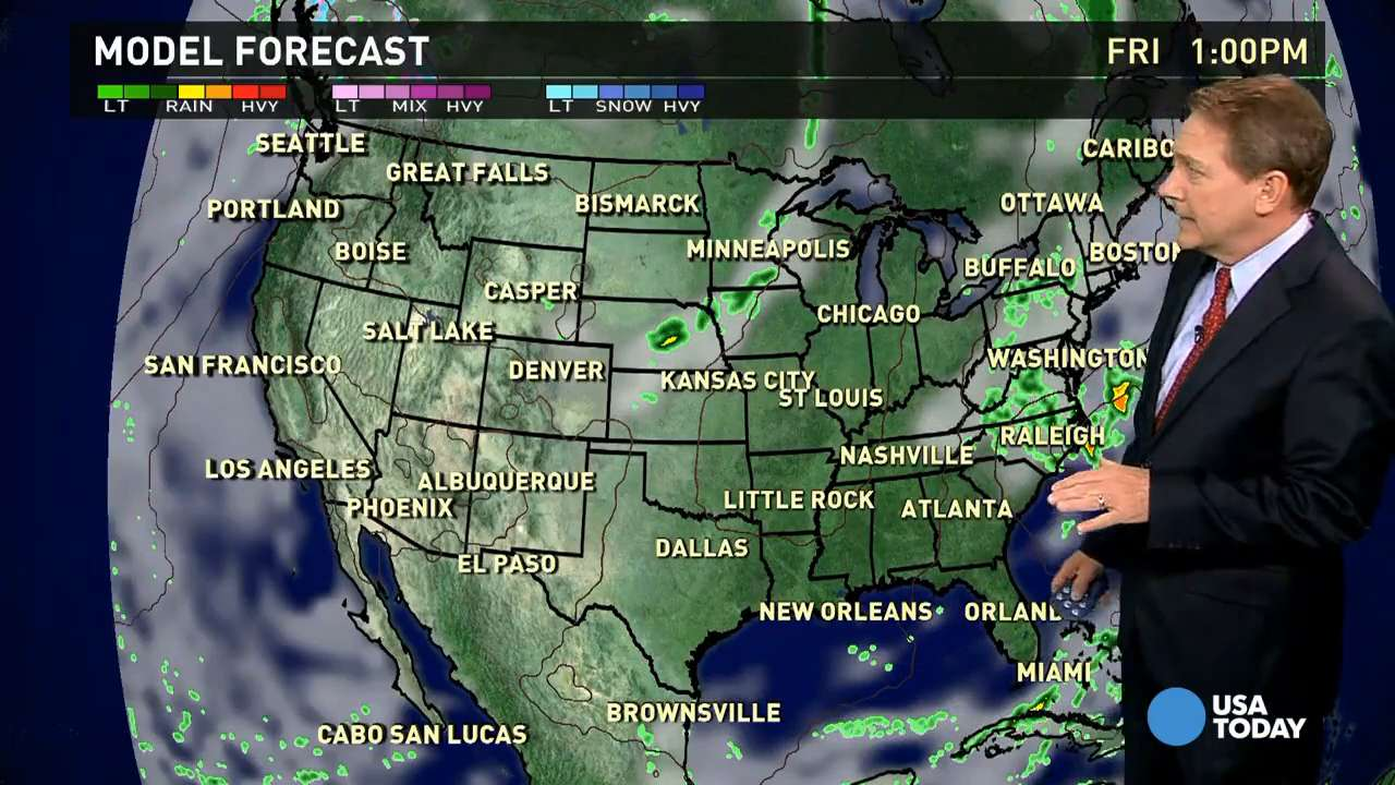 Friday's forecast: Rain in Mid-Atlantic, Midwest
