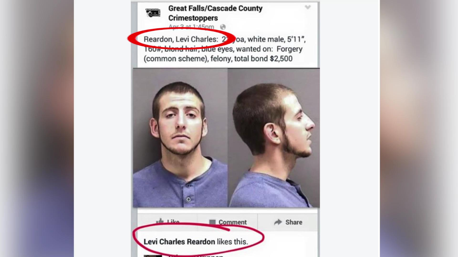 Man arrested after liking his own wanted poster on Facebook