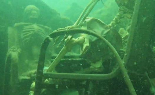 Creepy! Fake skeletons found having tea party in river