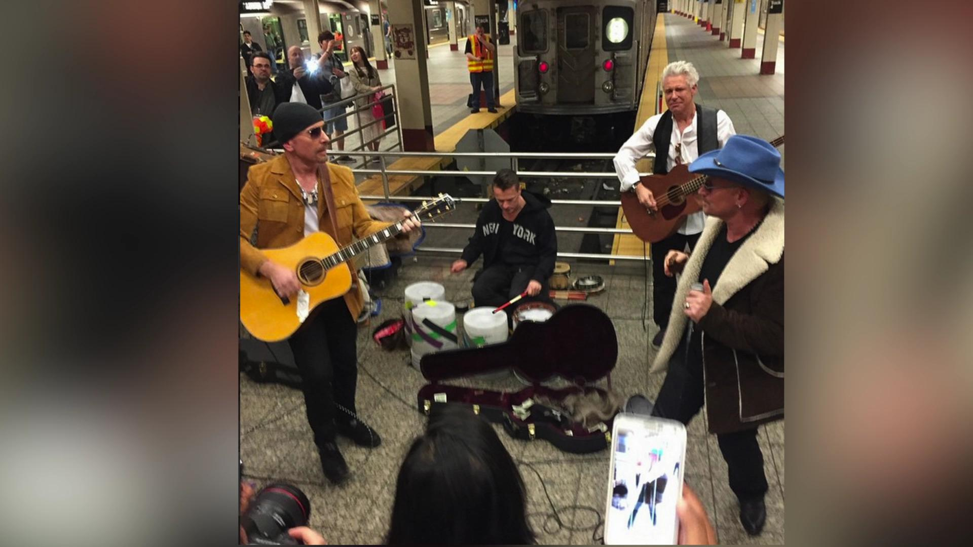 U2 gives surprise performance in NYC subway