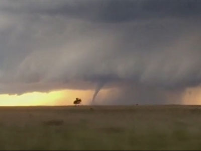 Raw: Tornado seen rolling across TX plains