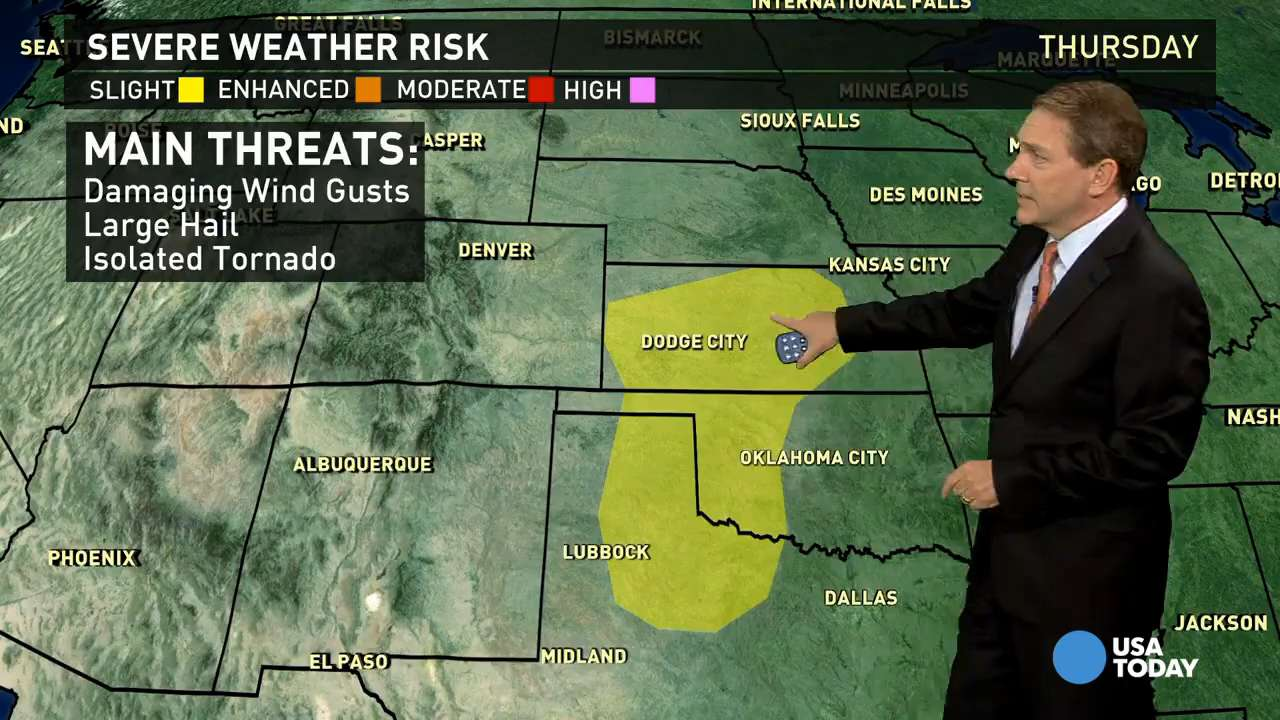 Thursday's forecast: Stormy again in the Plains