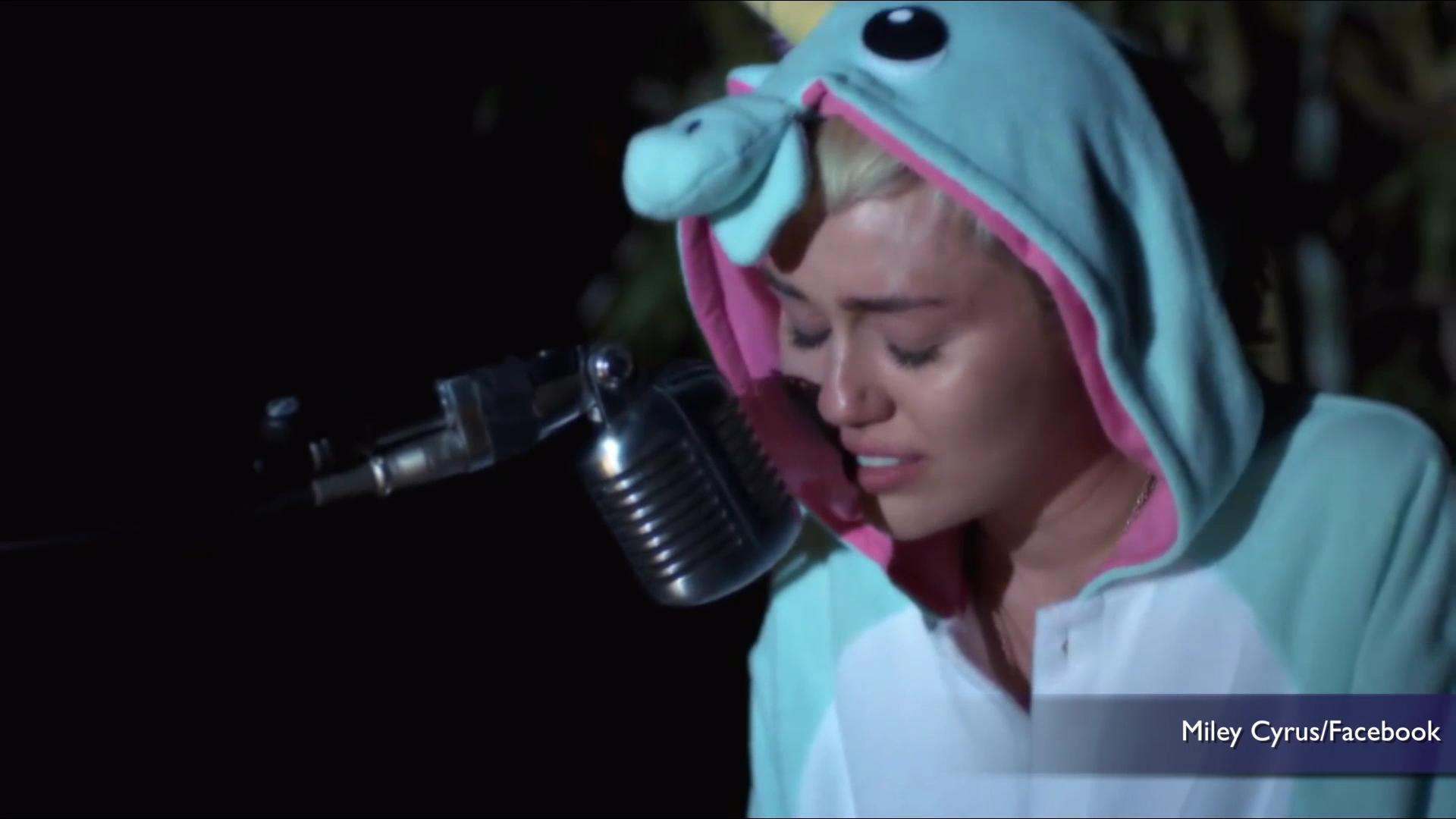 Miley Cyrus cries in a song she wrote for dead fish