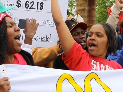 Protesters target McDonald's headquarters