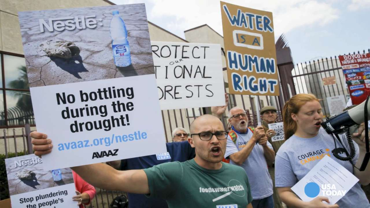 Protesters want Nestle to stop bottling water in California