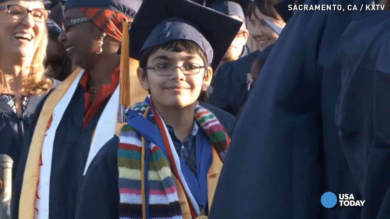 11-year-old boy graduates college with three degrees
