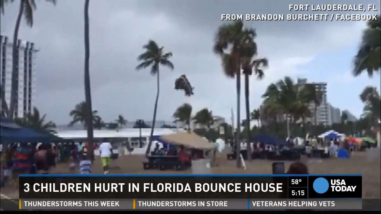 Bounce house flies through the air, three children hurt