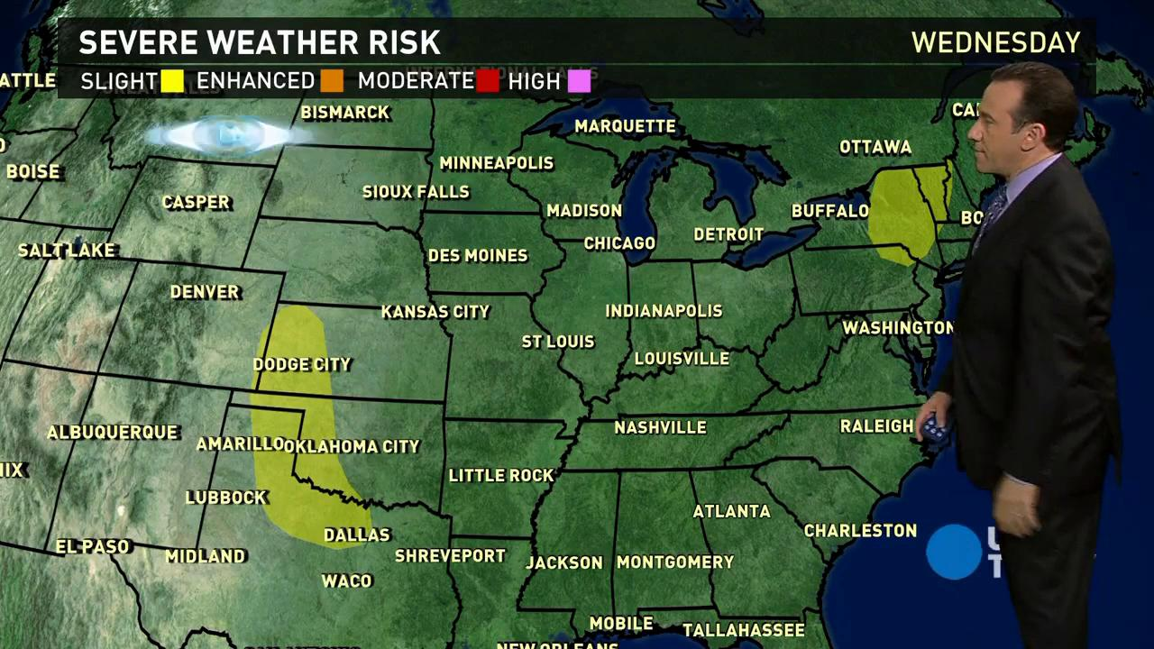 Wednesday's forecast: Severe storms move toward East