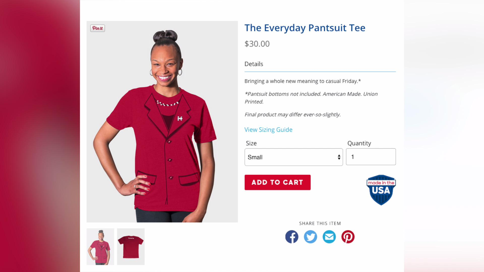 You can now buy a Hillary Clinton pantsuit t-shirt and more