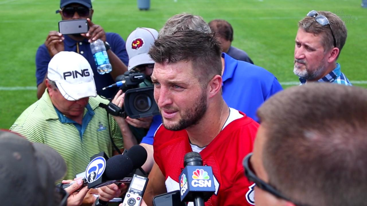 Tim Tebow adresses the media at Eagles OTA