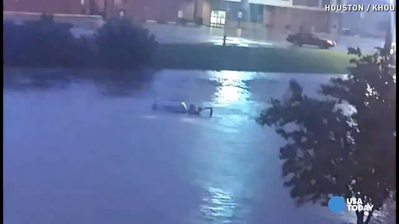 Dramatic Houston flood rescue caught on camera