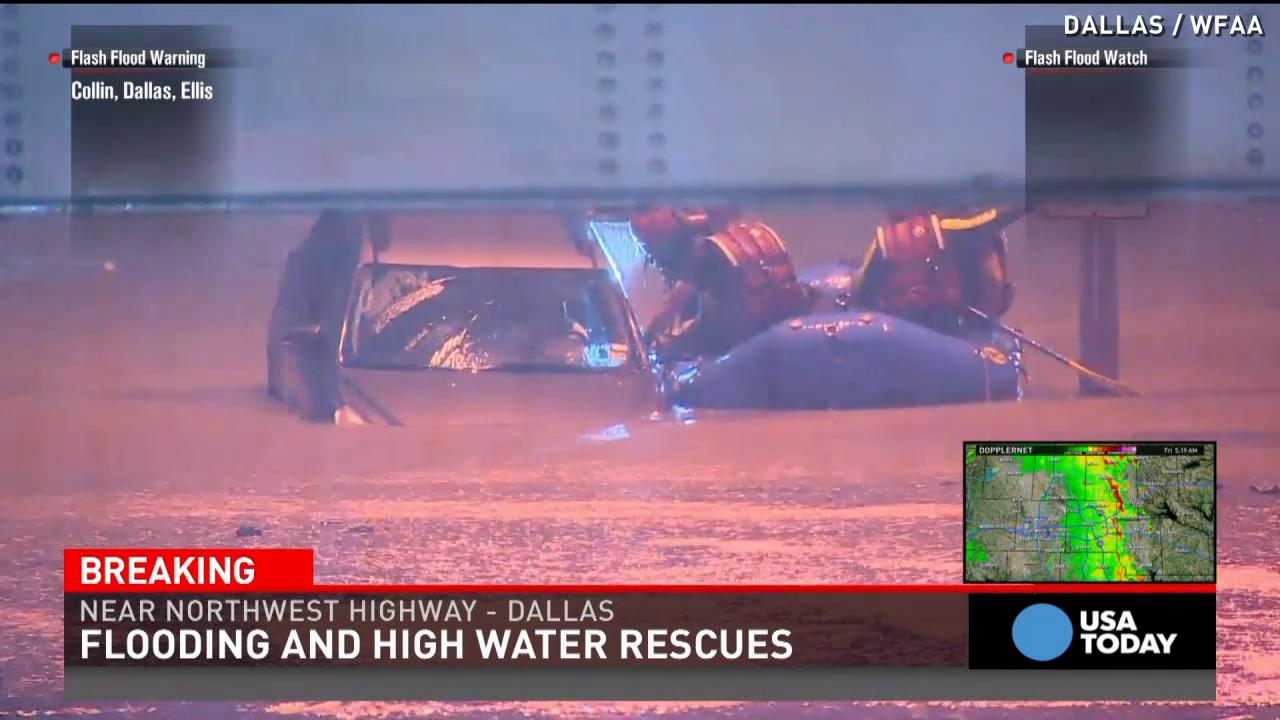 Woman rescued from flooded car in Dallas