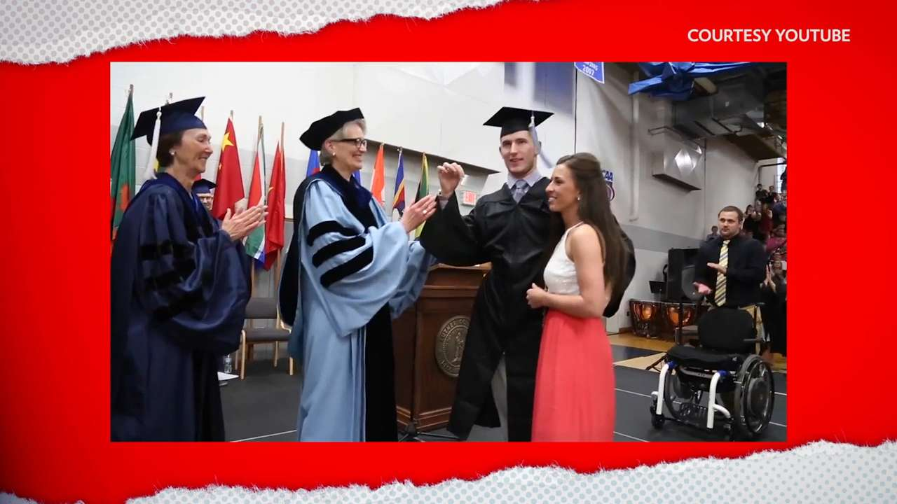 Paralyzed graduate walks to receive his diploma, with help from his fiancée